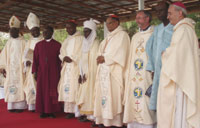 Cardinal Diaz with local and religious leaders at the Mass